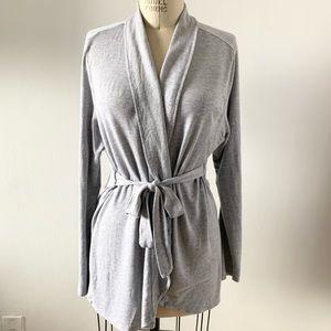 THYME Gray Wrap Ties Cardigan Robe Sz XL